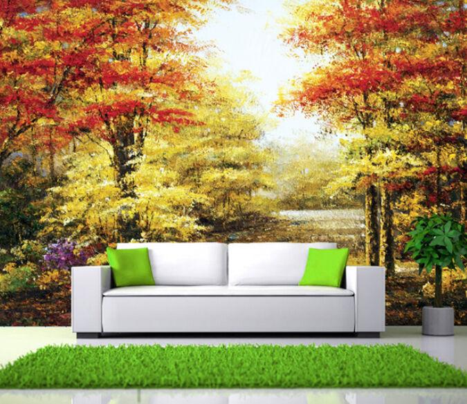 3D greene und rede Wald 0393 Fototapeten Wandbild Fototapete BildTapete Familie