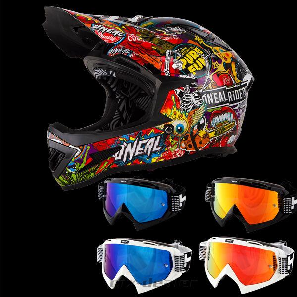 Oneal Warp Dh Bmx carraca Negro Casco de Bicicleta Montañera HP7 Gafas Freeride