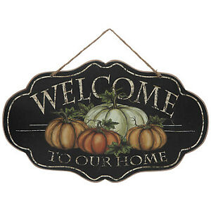 """13/"""" X 8/"""" Jute hanger Harvest//Fall Wooden Sign /""""Welcome To Our Home/"""" approx"""