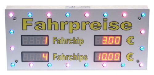 Preisschild Preistafel 2-zeilig Spielgeschäft Karussell Schausteller LED