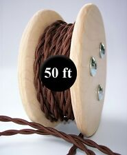Dark Brown Cloth Covered Twisted Wire 50ft Roll - Lamp Cord - Antique Fan Rewire