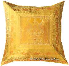 "X Large 26"" Gold Peacock Cushion Cover Silk Brocade Floor Pillow Sofa Throw"
