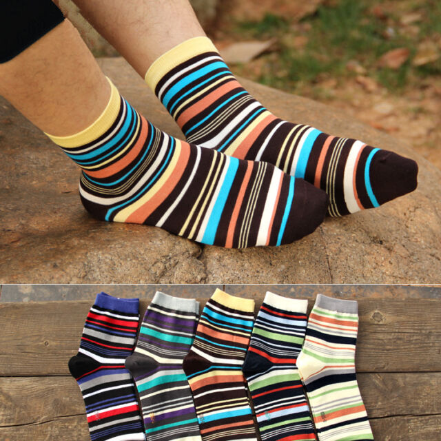 5 Pairs Lot Men S Designer Fashion Dress Socks Casual Striped Style Multi Color For Sale Online Ebay