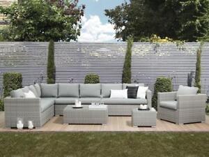 Das Bild Wird Geladen XXL Designer Rattan Gartenmoebel  Lounge Sitzgruppe Rattanlounge Grau