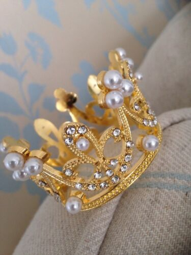 Little Crown .small Gold Crown . Smaller Baby Crown .crystal Rhinestone Crown