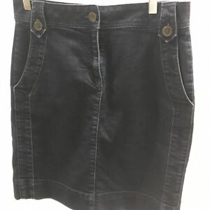 b2161fa572 Dana Buchman Denim Jean Skirt Dark Navy Blue Size 6 Front and Back ...