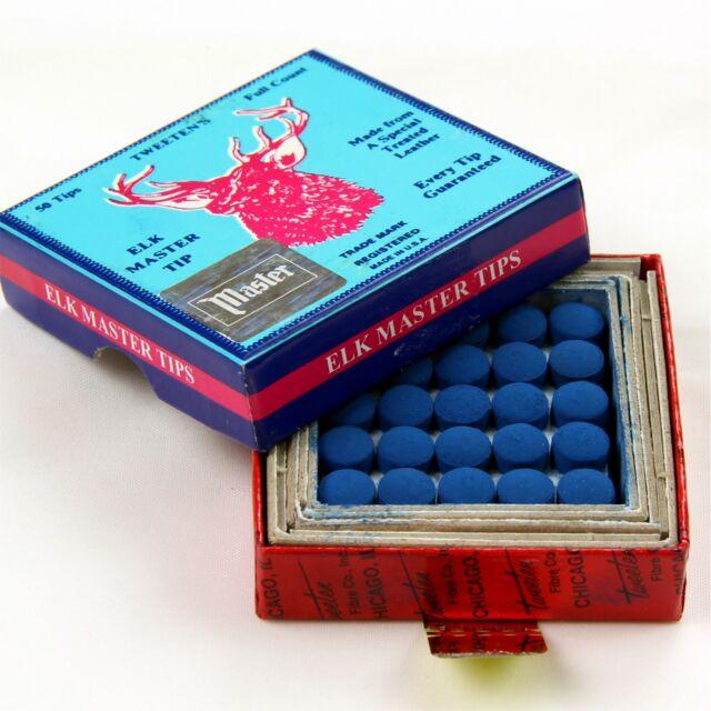 50 x 8mm Tweeten ELKMASTER Snooker Pool Cue Tip (full box) FREE C&C Cue Tip Gel