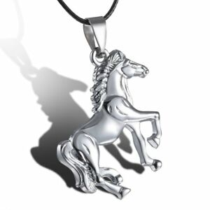 Horse-Stainless-Steel-Pendant-Necklace-Leather-Men-Unisex-Party-Xmas-Jewellery
