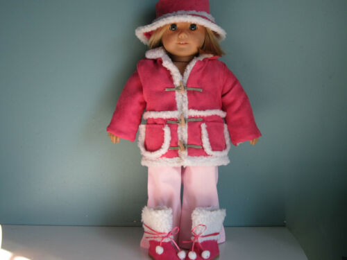MATCHING HAT /& SHERPA BOOTS fits American Girl HOT PINK SHERPA JACKET SET