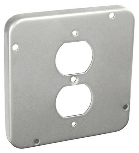 """*NEW* 4-11//16/"""" Square Electrical Cover 1//2/"""" Raised 1 Duplex Receptacle Gray 5"""