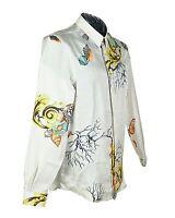 Versace Collection 100% Silk Seashell Coral Barocco Printed Shirt Sz L