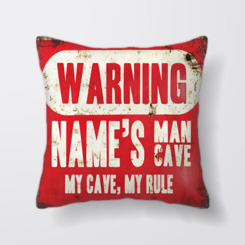 Warning Man Cave Personalised Cushion Covers Pillow Cases Home Decor or Inner
