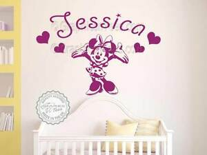 Minnie Mouse Personalised Wall Sticker Baby Boy Girl Nursery Bedroom