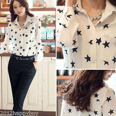 Korean Fashion Women's Loose Chiffon Casual Blouse Shirt Tops Blouse T-Shirt