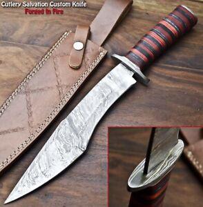 Handmade Damascus Steel Blade Bowie Hunting Knife   HARD WOOD