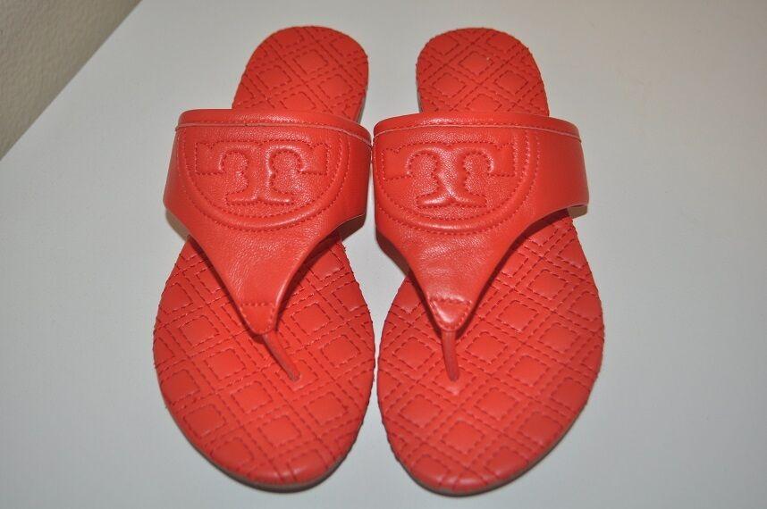 Tory Burch Fleming Plana Sandalias Acolchado Cuero Flip Flop Pimienta Rojo 5.5