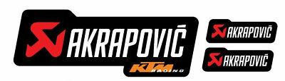 3 Adesivi Stickers Akrapovic Ktm Racing Resistente Al Calore