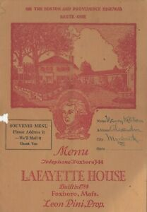 Vintage LAFAYETTE HOUSE Souvenir Menu Foxboro Foxborough