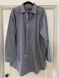 Michael-Kors-Size-18-5-Mens-Button-up-dress-shirt-Big-34-35-Luxe-Cotton-Navy