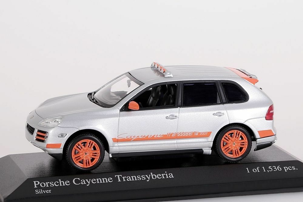 Porsche Cayenne Transsyberia argent 2007 Minichamps 1 43 Nouveau Neuf dans sa boîte