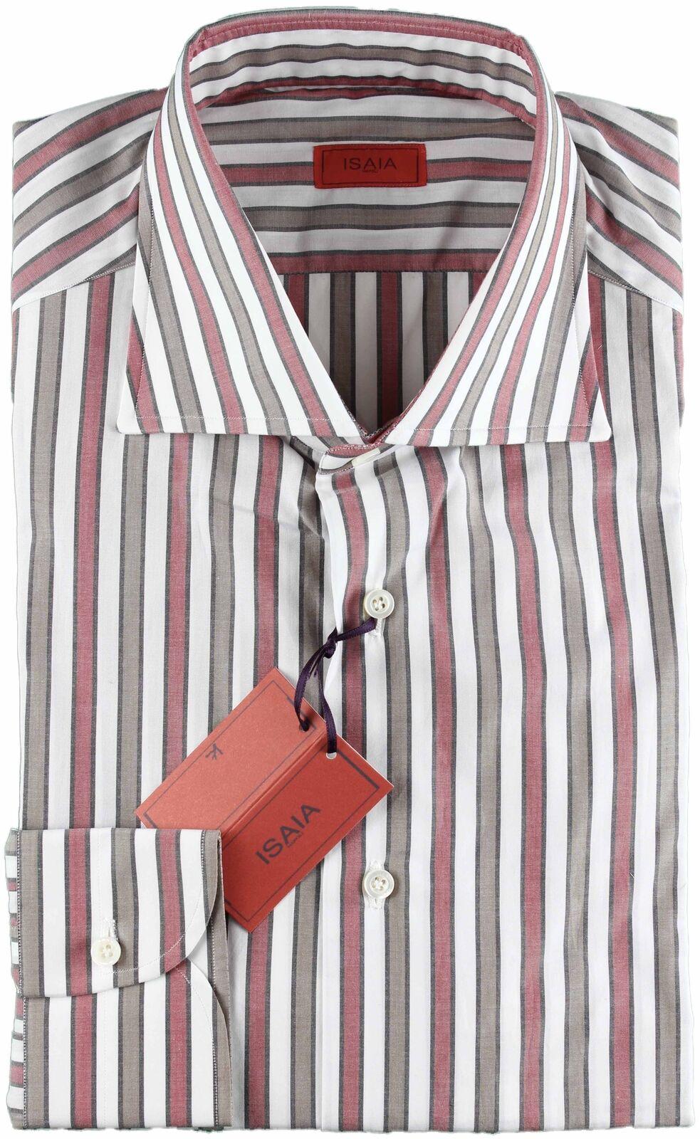 db20f990 NWT ISAIA SHIRT white, red & beaver striped luxury spread handmade 38 15