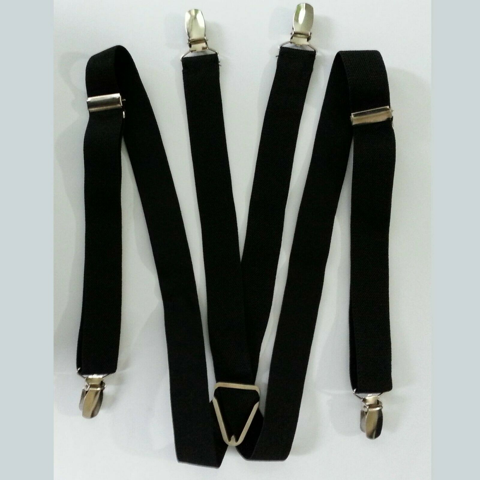 Damen Herren Hosenträger Hose Gürtel Schwarz 4 Clip Clips Träger X-Form Jeans