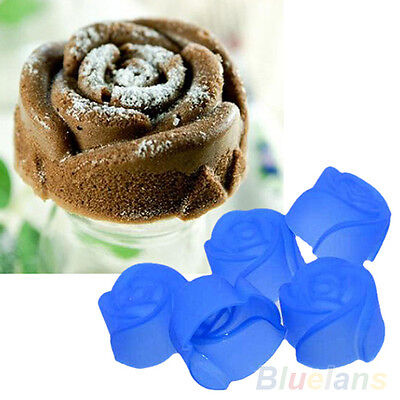 10X NEW USEFUL SILICONE ROSE MUFFIN CUP CAKE BAKING CHOCOLATE JELLY MAKER MOULD