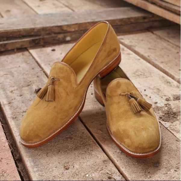 Uomini  fatti a mano scarpe scamosciate beige, uomini vestiti scarpe formali, uomini napsel scivolare su scarpe  design unico