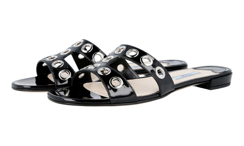 AUTH LUXURY  PRADA SANDALS scarpe 1XX250 nero NEW 39,5 UK 6  controlla il più economico