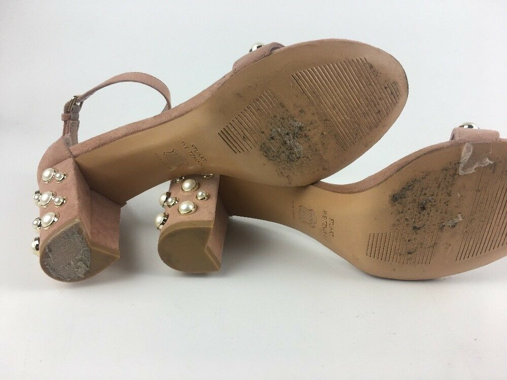 Stuart Weitzman Womens Nearlypearl Naked Suede Suede Suede Sandal SZ 8.5 M 4e6193