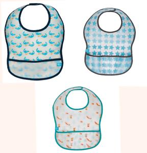 Baby Lätzchen Latz mit Klett NEU Wasserdicht PEVA Back Weiß Apfel Muster Bib
