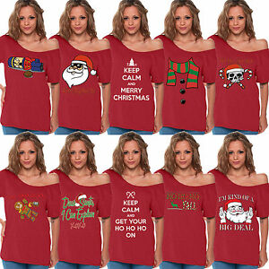 5079a63e0a645b WOMEN S Merry Christmas Off Shoulder top T-SHIRT Ugly Funny xmas ...