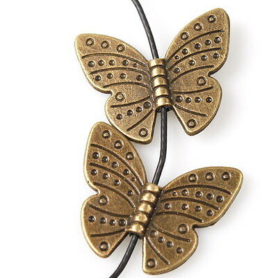 20pcs 112724 New Butterfly Bronze Tone Alloy Spacer Beads Fit Craft DIY Making