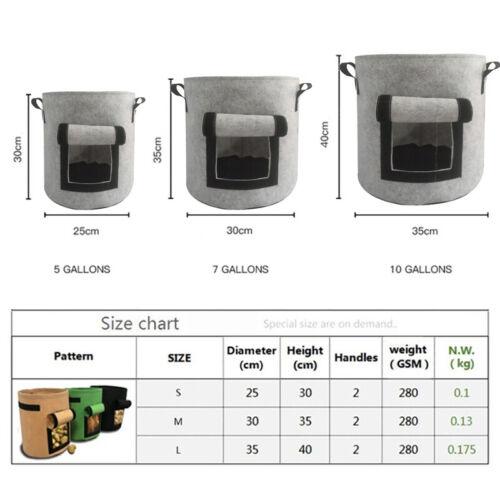 5//7//10Gallon Vegetable Grow Bags Garden Planting Bag Potato Planter Pot^Durable