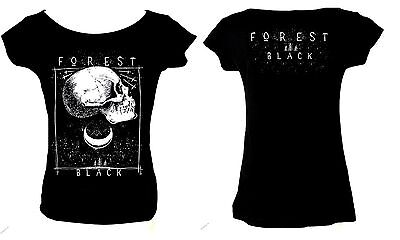 FOREST BLACK LADIES T-SHIRT METAL 666 GOTH ALTERNATIVE OCCULT WITCH MAGIC SKULL