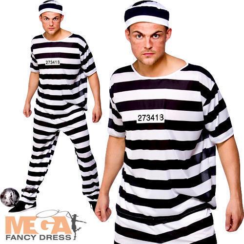 Prisoner Convict Fancy Dress Party Mens Adult Robber Costume Outfit Hat M-XL
