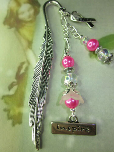Pink Beaded Bookmark Breast Cancer Inspire Hope Handmade Silver Designs