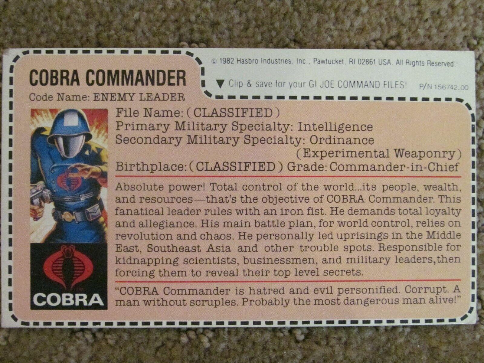 1982 STRAIGHT ARM GI JOE COBRA COMMANDER 1982 ROUGHBACK File Card- Mickey Mouse
