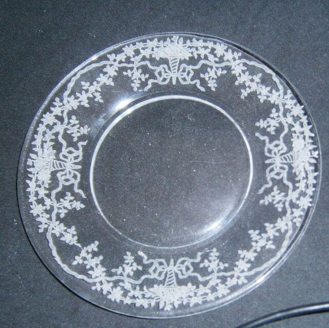 Vintage Fostoria Elegant Glass Corsage Etch Crystal Bread Butter Dessert Plate & Fostoria