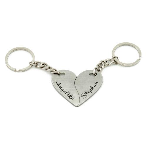 Geteiltes Herz Herzanhänger Schlüsselanhänger Set,  zweiteilig, Partner Anhänger