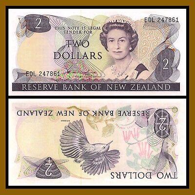 UNC QEII New Zealand p-164d 1977-1981 2 Dollars Hardie
