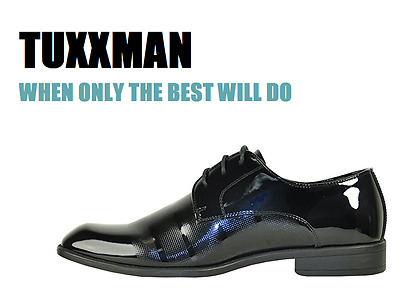 New Men/'s Pin Dot Black on Black Lace Dress Formal Tuxedo shoes TUXXMAN