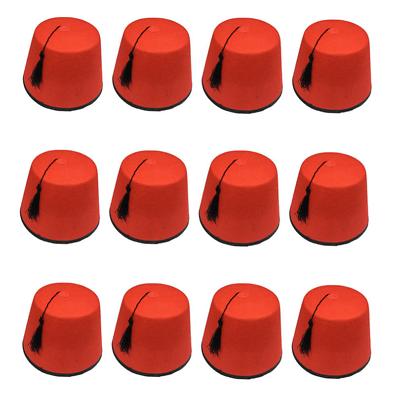 12 X Erwachsene Rot Fez Tommy Cooper Türkisch Tarboosh Kostüm Qr19