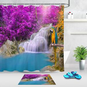 Waterproof Autumn Forest Waterfall Parrot Shower Curtain Bathroom Decor 12 Hooks