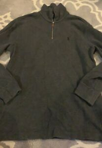 Polo-Ralph-Lauren-Sweater-1-4-1-2-Half-Zip-Pullover-Charcoal-Gray-Size-Small