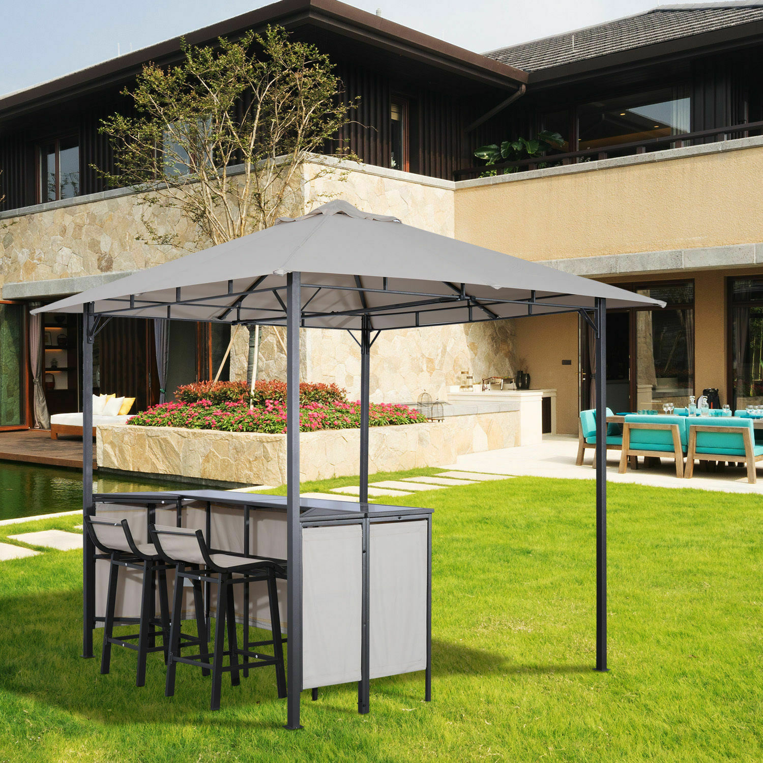 3pc Outdoor Patio Bar Table Set Chairs