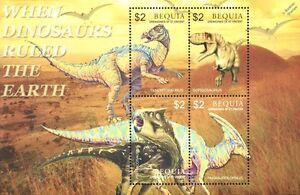 Mon ChéRi Dinosaures Comme Neuf Neuf Sans Charnière Stamp Sheet #6 (2005 Bequia, Grenadines Of St Vincent)-afficher Le Titre D'origine