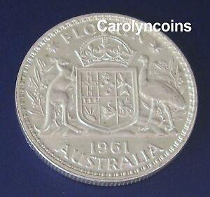 1961 One Florin Australian Silver Pre Decimal Coin Queen Elizabeth II