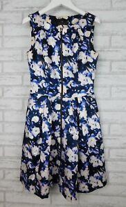 Cue Dress Sleeveless Blue, purple, cream print Exposed zip Sz 8