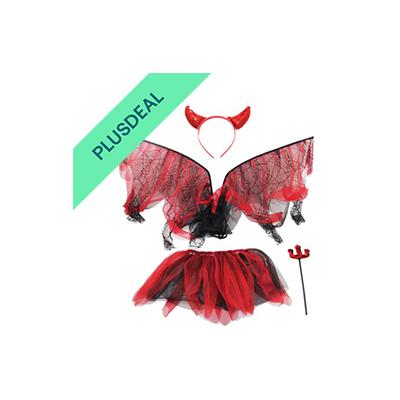 Teufel Set für Kinder Halloween Horror Party Hölle rot schwarz Hörner gruselig
